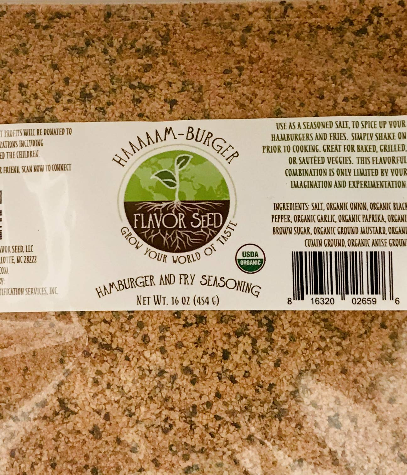 FLAVOR SEED - HAAAAAM-Burger Organic Hamburger and French Fry Seasoning|Keto, Paleo, Non-GMO, Gluten Free|Use on Burgers, Fries, Steak, Chicken, Turkey Burger, Vegetables, Kabobs|Dip, Seasoning Salt