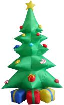 BZB Goods 8 Foot Green Christmas Inflatable Tree with Multicolor Gift Boxes and Star Party Decoration