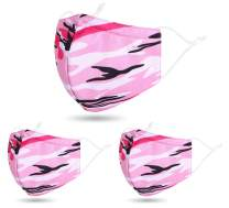 3 PCS Unisex Washable Reusable 2 Layers Face Madks, Camo Pink