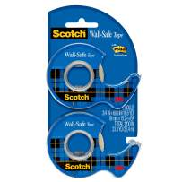 Scotch Wall-Safe Tape, Sticks Securely, Removes Cleanly, Invisible, Designed for Hanging, 3/4 x 600 Inches, 2 Dispensered Rolls (183-DM2)