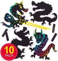 Baker Ross Dragon Scratch-Off Art Decoration Kits | Magic Scratch Wand | Kids Fun Arts & Crafts Project | No Glue or Scissors Needed | Pack of 10 Fire Breathers