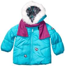 LONDON FOG Girls' Little Quilted Puffer Jacket with Scarf