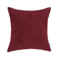 CaliTime Cozy Throw Pillow Cover Case for Couch Sofa Bed Comfortable Supersoft Corduroy Corn Striped Both Sides 18 X 18 Inches Burgundy