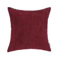 CaliTime Cozy Throw Pillow Cover Case for Couch Sofa Bed Comfortable Supersoft Corduroy Corn Striped Both Sides 24 X 24 Inches Burgundy