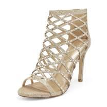DREAM PAIRS Women's Black Rhinestone Ankle Strap Open Toe Stiletto Heel Sandals Cutout Dress Pump Shoes Size