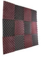 """New Level 12 Pack- Burgundy/Charcoal Acoustic Panels Studio Foam Egg Crate 1"""" X 12"""" X 12"""""""