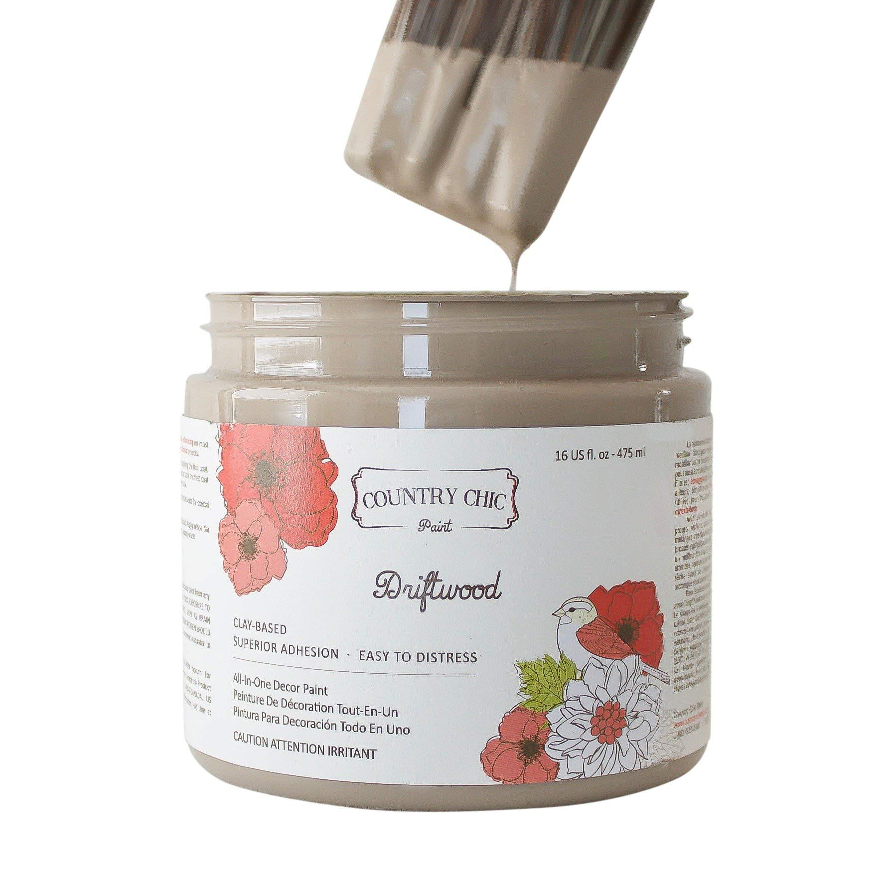 Chalk Style Paint - for Furniture, Home Decor, Crafts - Eco-Friendly - All-in-One - No Wax Needed (Driftwood [Brown], Quart (32 oz))
