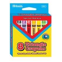 BAZIC 8 Colors Premium Jumbo Triangle Crayons, Coloring Set, Assorted Color School Art Gift for Kids Artist