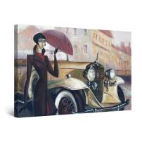 "Startonight Canvas Wall Art Abstract - Woman, Umbrella and Retro Car Painting - Large Artwork Print for Living Room 32"" x 48"""