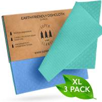 SUPERSCANDI Large Reusable Washable Paper Towel Replacement Cloths – 3 Pack Blue and Green