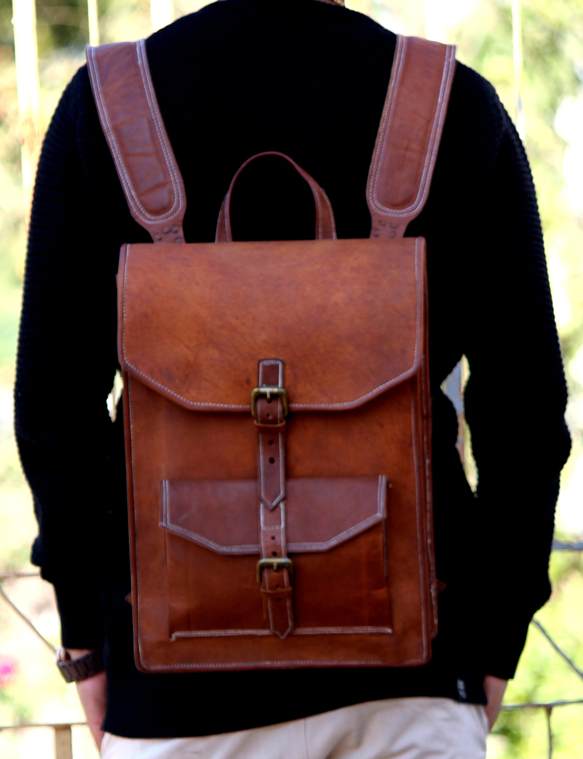 "Handmade World 15"" Brown Vintage Leather Backpack Laptop Messenger Bag For College School Office Rucksack Sling for Men Women"