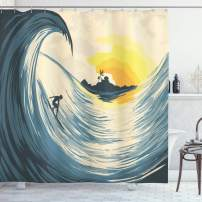 "Ambesonne Ocean Shower Curtain, Illustration of Cloudy Sky Tropical Island Wave and Surfer at Sunset Seascape, Cloth Fabric Bathroom Decor Set with Hooks, 70"" Long, Beige Yellow"