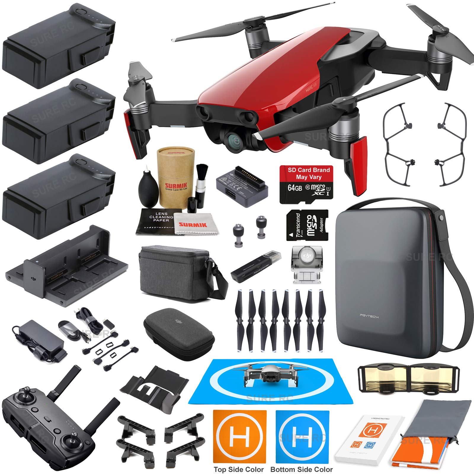 DJI Mavic Air Fly More Combo (Flame Red) Touring Bundle with 3 Batteries, 4K Camera Gimbal, PGYTECH Carrying Case and Must Have Accessories