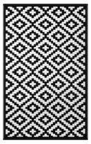 Lightweight Outdoor Reversible Plastic Rug Nirvana Black / White - 180 cm x 270 cm (6ft x 9ft)