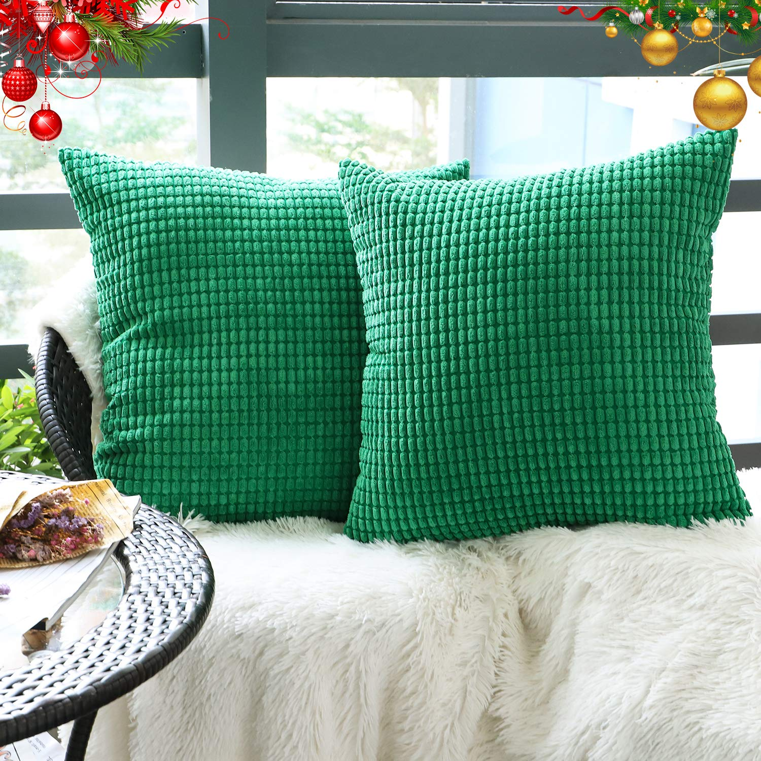 """Set of 2,Decorative Throw Pillow Covers 20"""" x 20"""" (No Insert),Solid Cozy Corduroy Corn Accent Square Pillow Case Sham,Soft Large Cushion Cover w/Hidden Zipper for Couch/Sofa/Bedroom,Emerald Green"""