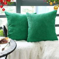 "Set of 2,Decorative Throw Pillow Covers 22"" x 22"" (No Insert),Solid Cozy Corduroy Corn Accent Square Pillow Case Sham,Soft Large Cushion Cover w/Hidden Zipper for Couch/Sofa/Bedroom,Emerald Green"