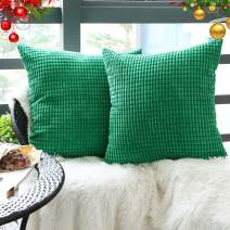 """Set of 2,Decorative Throw Pillow Covers 22"""" x 22"""" (No Insert),Solid Cozy Corduroy Corn Accent Square Pillow Case Sham,Soft Large Cushion Cover w/Hidden Zipper for Couch/Sofa/Bedroom,Emerald Green"""