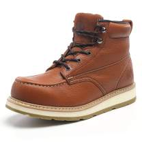 Men's Moc Toe Construction Work Boots Soft Toe/Composite Toe,Full Grain Leather Waterproof Working Boots EH Dual Density PU Sole,Brown