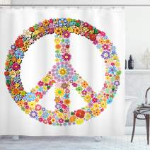 """Ambesonne Groovy Shower Curtain, Floral Peace Sign Summer Spring Blooms Love Happiness Themed Illustration Print, Cloth Fabric Bathroom Decor Set with Hooks, 84"""" Long Extra, White Red"""