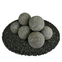 Ceramic Fire Balls | Set of 8 | Modern Accessory for Indoor and Outdoor Fire Pits or Fireplaces – Brushed Concrete Look | Charcoal Gray, Speckled, 5 Inch