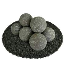 Ceramic Fire Balls   Set of 8   Modern Accessory for Indoor and Outdoor Fire Pits or Fireplaces – Brushed Concrete Look   Charcoal Gray, Speckled, 5 Inch