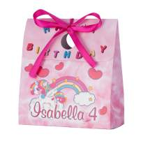 Personalized Treat Bags for Kids   12 Mini Treat Boxes Per Pack   Unicorn Themed   Customized Happy Birthday Party Favors for Boys & Girls   Fill with Your Treats & Gifts