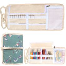 Damero New Canvas Crochet Hooks Wrap Knitting/Crochet Accessories Pouch Craft Tools Organizer Bag, Plum Flowers-(Not Accessories Included)