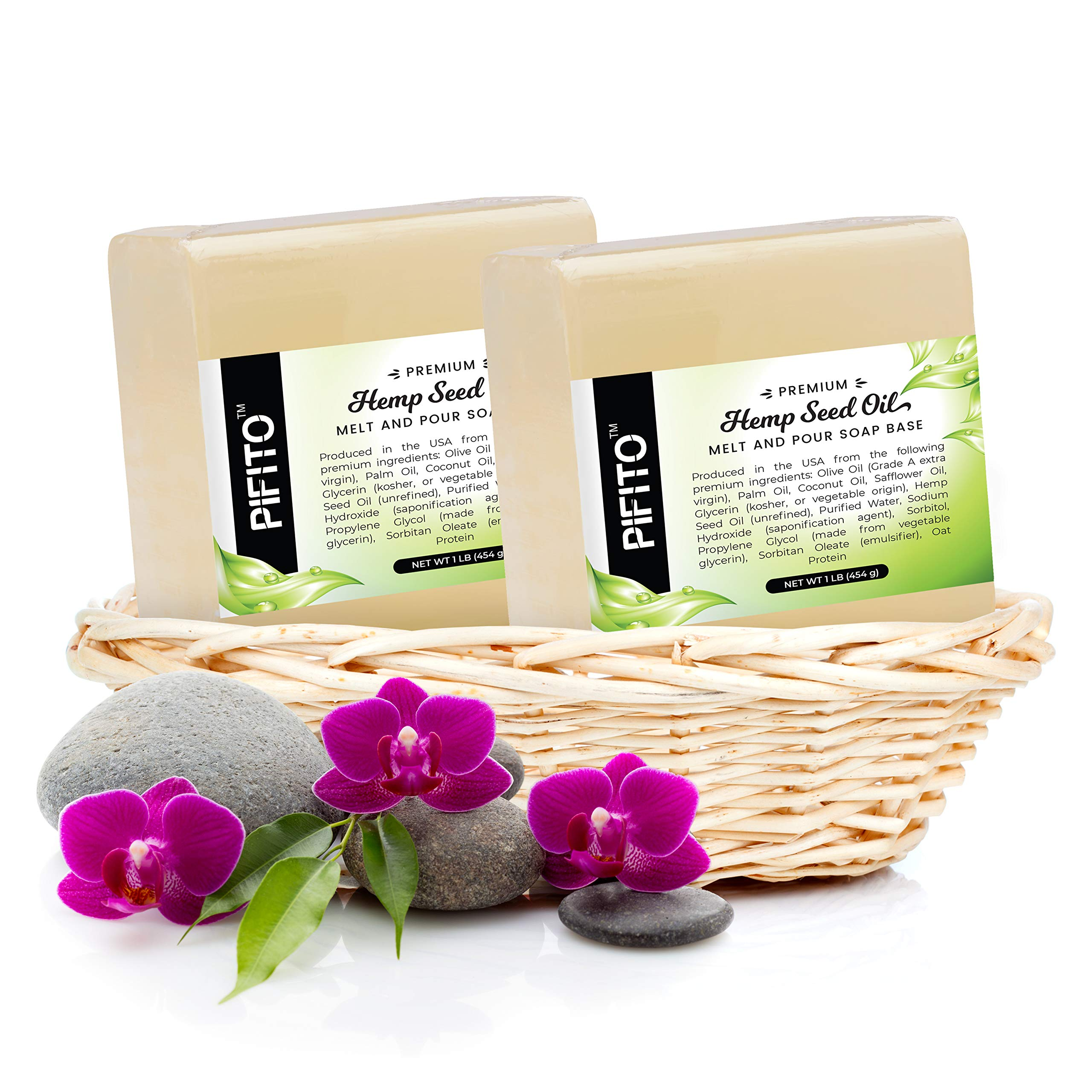Pifito Hemp Seed Oil Melt and Pour Soap Base (2 lb) │ Premium 100% Natural Glycerin Soap Base │ Luxurious Soap Making Supplies