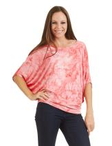 CTC Womens Tie Dye Scoop Neck Half Sleeve Batwing Dolman Top - Made in USA