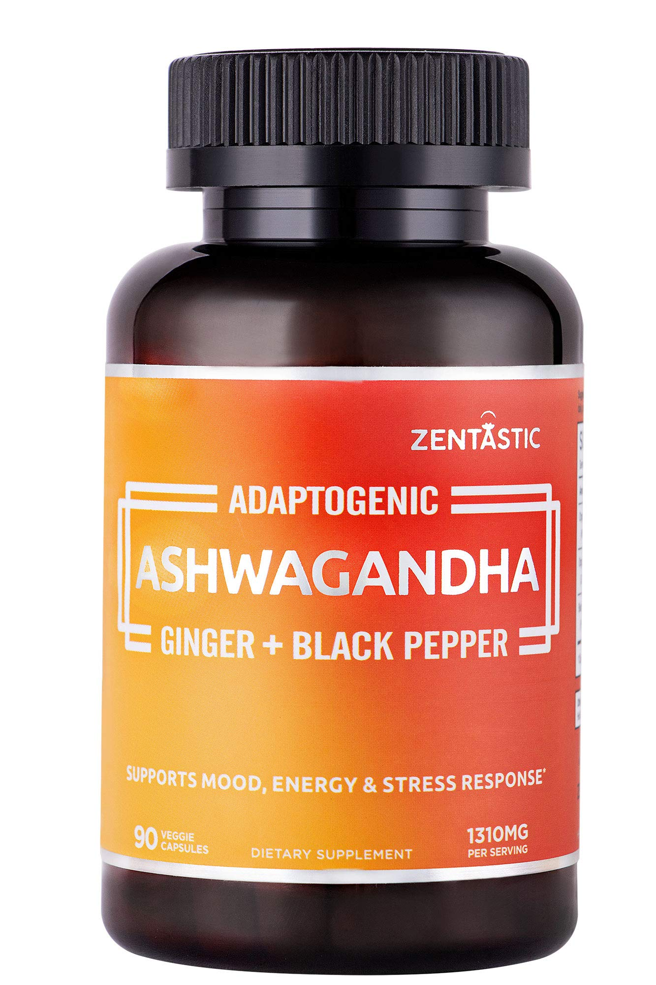Zentastic Ashwagandha Capsules - Made with Organic Ashwagandha Root Powder, Organic Ginger, Black Pepper Extract - Natural Anxiety & Stress Relief, Mood & Energy Enhancer - 90 Veggie Capsules