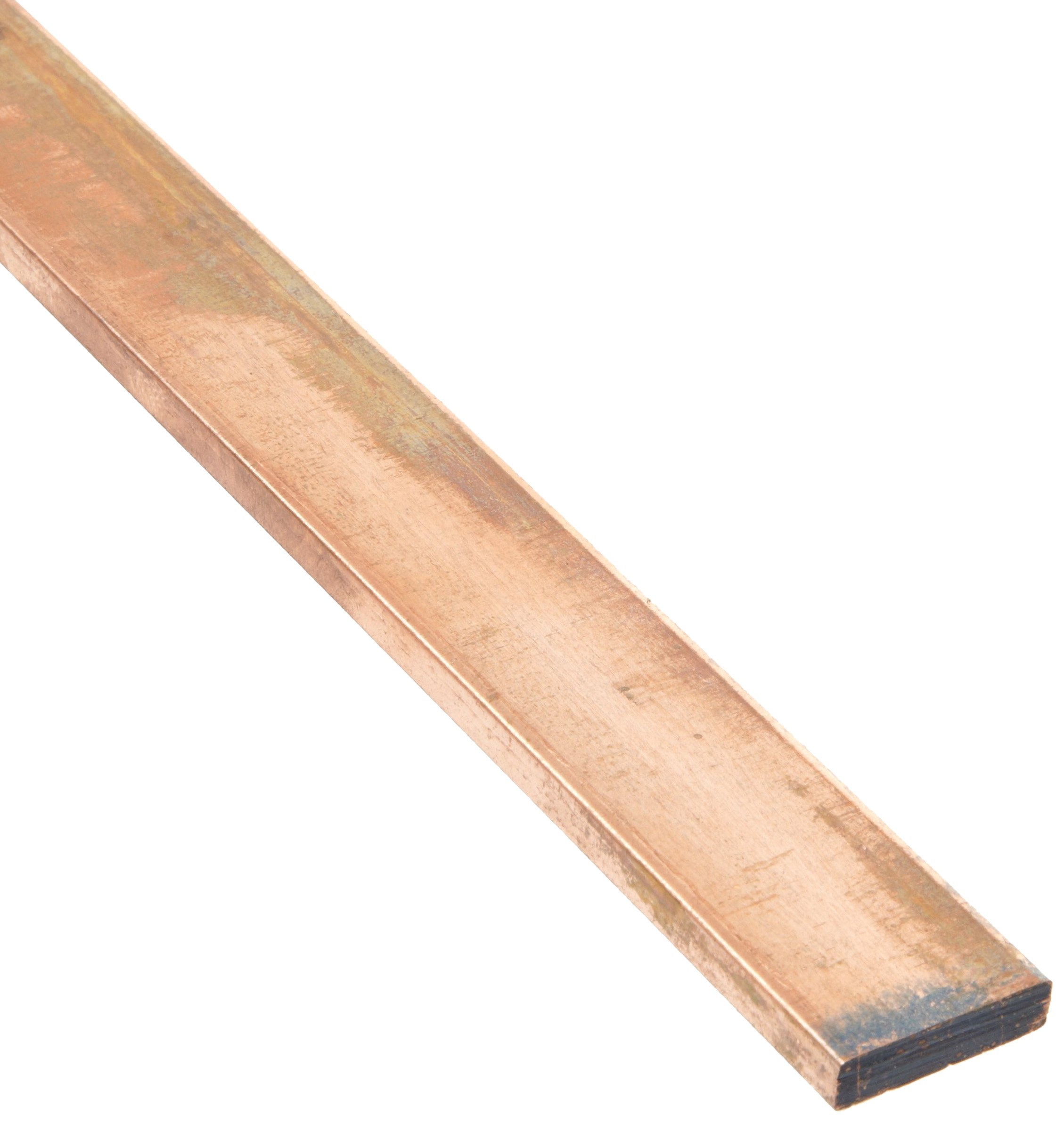 """110 Copper Rectangular Bar, Unpolished (Mill) Finish, H04 Temper, ASTM B187, 1/2"""" Thickness, 3/4"""" Width, 36"""" Length"""