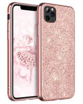 "DUEDUE iPhone 11 Pro Max Case Bling, Sparkly Glitter Slim Hybrid Hard PC Cover Shockproof Non-Slip,Full Body Protective Phone Cover for iPhone 11 Pro Max 6.5"" 2019 for Women/Girls,Rose Gold"