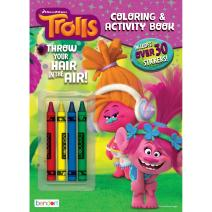 Trolls Bendon Coloring & Stickers 32-Page Activity Book with Crayons Activity Book