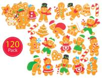 Baker Ross Self-Adhesive Foam Gingerbread Decoration Stickers | Kids Christmas Fun Arts & Crafts Project | No Glue or Scissors Needed | Pack of 120 Xmas Designs