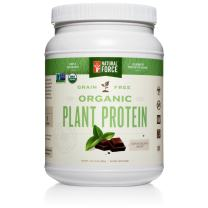 Organic Plant Protein – Chocolate Mint, Best Tasting Vegan Protein Powder* - Complete Plant Based Protein, Delicious in Shakes and Smoothies, Gluten Free, Non-GMO by Natural Force, 17.6 Ounce