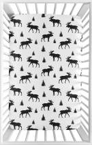 Sweet Jojo Designs Black and White Woodland Moose Baby Fitted Mini Portable Crib Sheet for Rustic Patch Collection