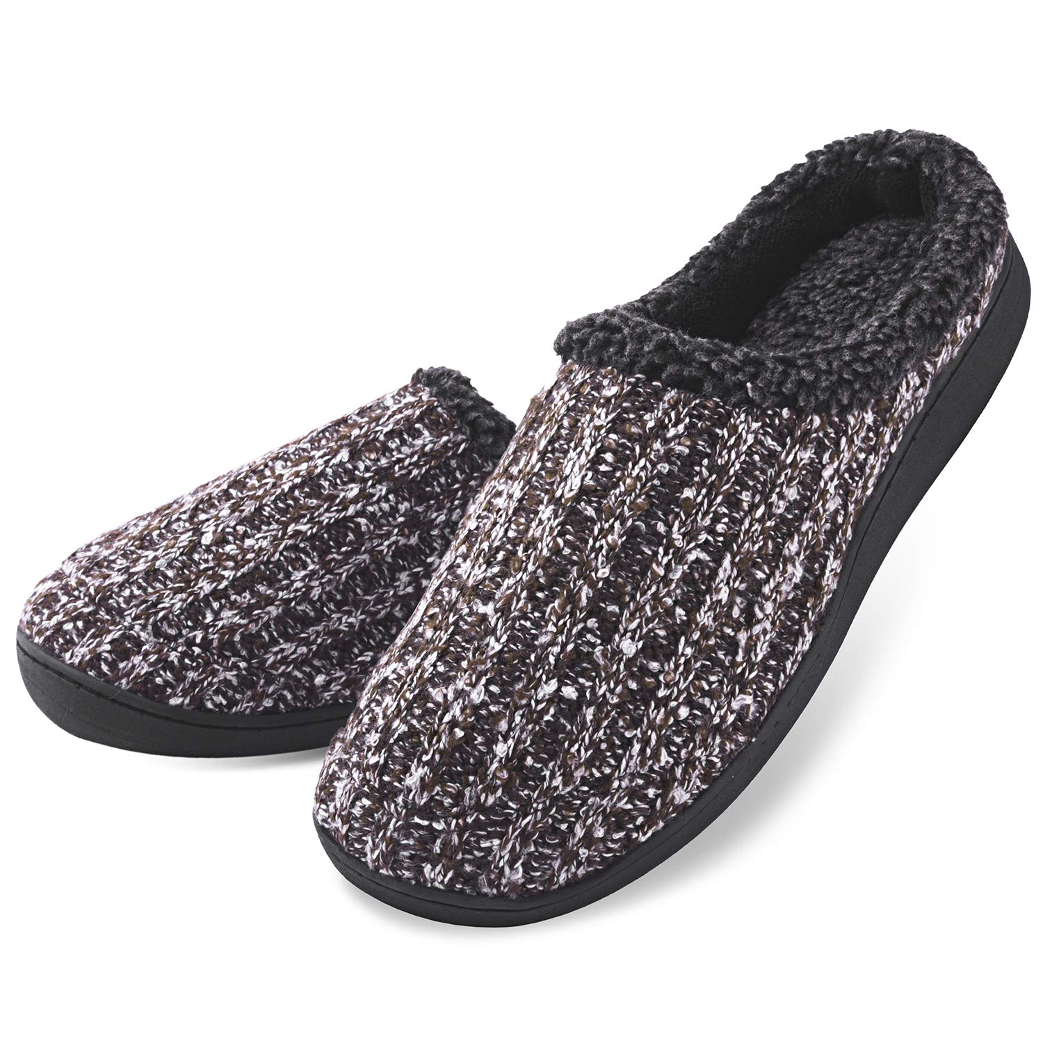 Dasein Men's Comfort Memory Foam Slippers with Plush Fleece Lining Causal Slip On Clog Spring House Shoes with Indoor Outdoor Anti-Skid Rubber Sole