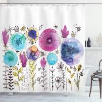 "Ambesonne Dragonfly Shower Curtain, Hello Summer Concept with Dandelion and Dragonfly Be Happy Artwork, Cloth Fabric Bathroom Decor Set with Hooks, 84"" Long Extra, Lavender Blue"