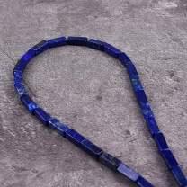 "Asingeloo 30PCS 4X13mm Natural Lapis Lazuli Gemstone Loose Beads Tube Energy Stone Healing Power for Jewelry Making 15.5"" a Strand"