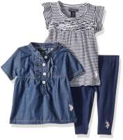 U.S. Polo Assn. Baby Girl's Sport Shirt, Knit Top and Legging Set Pants