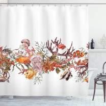 "Ambesonne Sea Animals Shower Curtain, Fish Seaweed Starfish Coral Algae Jellyfish Sea Life Summertime Illustration, Cloth Fabric Bathroom Decor Set with Hooks, 75"" Long, Mustard Olive"