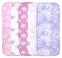Cambria Baby Organic Cotton Premium Burp Cloths for Girls. XL Coverage w/ 2 Outer Layers of Organic Cotton & Absorbent Inner Layer of Polyester Fleece. Chemical-Free to Protect Baby's Skin. 5 Pack