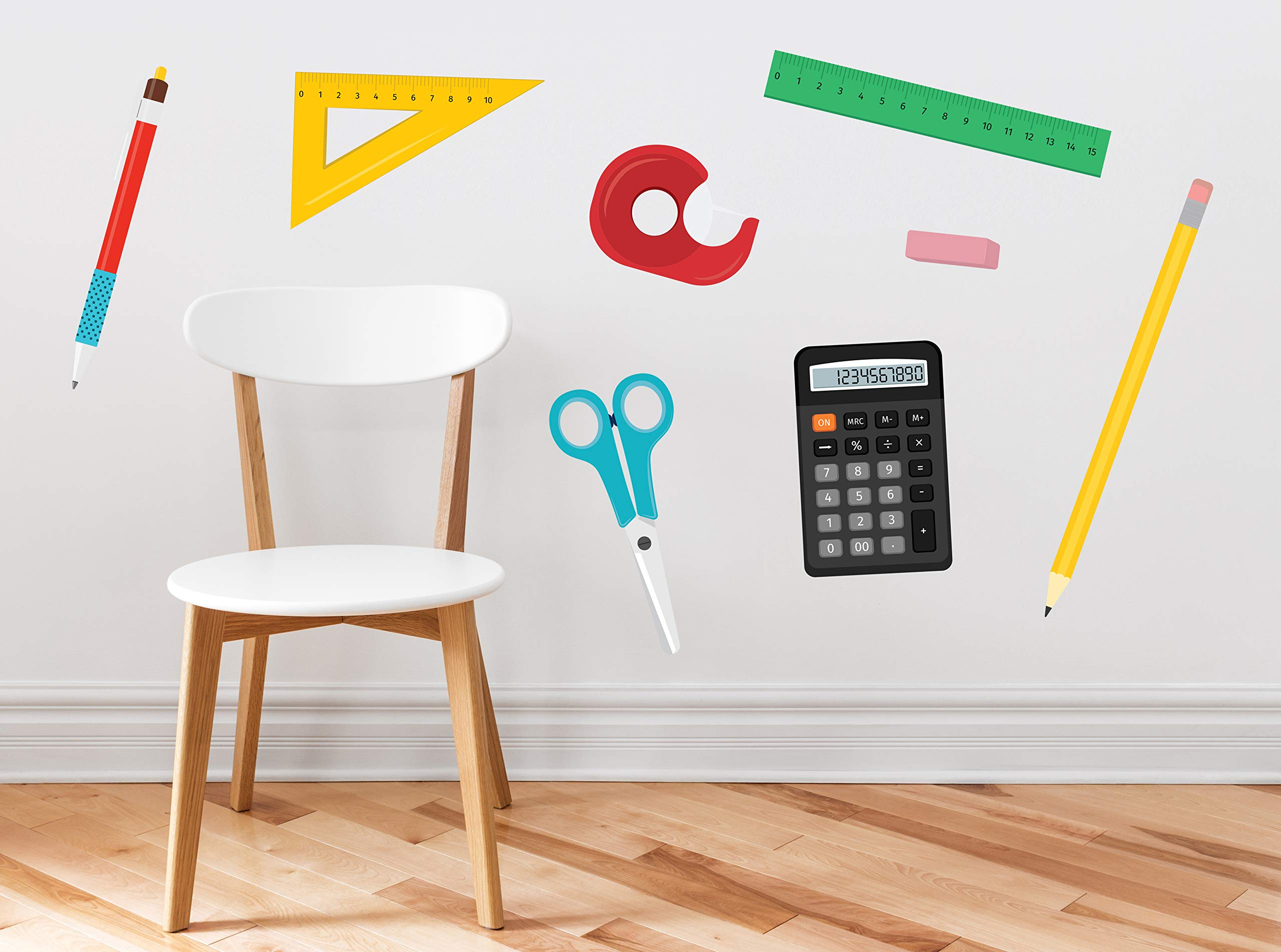 School Supplies Fabric Wall Decals - Set of 8 with Ruler, Scissors, Calculator, Pencil, Pen, Eraser, Triangle, Tape Dispenser in Different Colors - Removable, Reusable, Respositionable