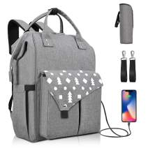 Diaper Bag Backpack, Ionlyou Large Back Pack Multifunction Travel Baby Bags Gray