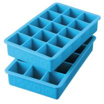 Tovolo Perfect Mold Freezer Tray of 1.25-Inch Cubes for Whiskey, Bourbon, Spirits & Liquor, BPA-Free Silicone, Fade Resistant, Set of 2, Ice Blue