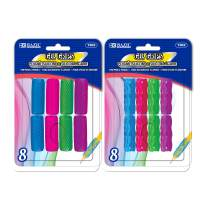 BAZIC Assorted Color & Shape Gel Pencil Grip Pen Grip, Finger Grip for Kids Lefties or Righties Pencil Holder, Writing Learning School Supplies (8/Pack) (Set of 2)