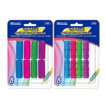 BAZIC Assorted Color & Shape Gel Pencil Grip Pen Grip, Finger Grip for Kids Lefties or Righties Pencil Holder, Writing Learning School Supplies (8/Pack) (Box of 24)