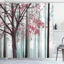 """Ambesonne Autumn Shower Curtain, Picture of a Lonely Tree Leaves on an Abstract Woodland Background Print, Cloth Fabric Bathroom Decor Set with Hooks, 70"""" Long, Pastel Pink"""