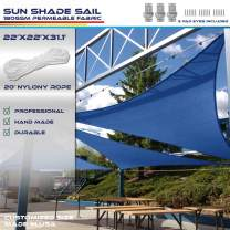 Windscreen4less 22' x 22' x 31.1' Sun Shade Sail Triangle Canopy in Ice Blue Included Free 3 Pad Eyes with Commercial Grade (3 Year Warranty) Customized Size