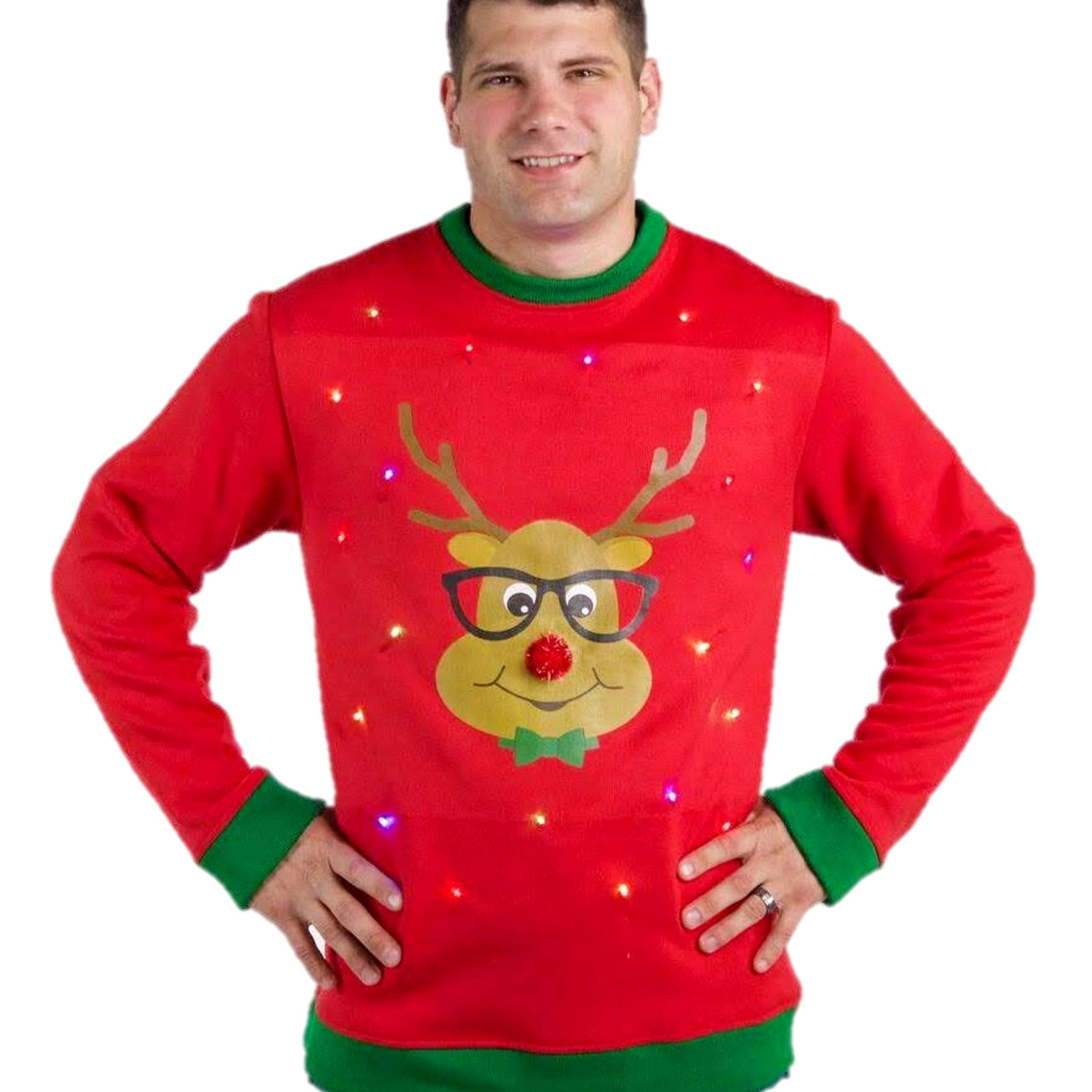 Reindeer Ugly Christmas Sweater Men Light Up, Ugly Sweater with Lights, Ugly Christmas Sweaters